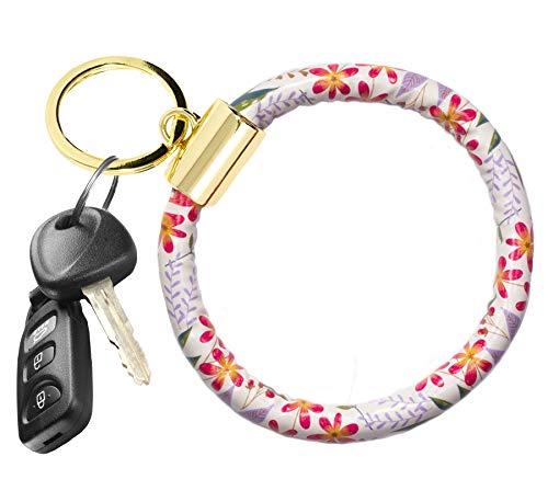 Niedlicher runder Leder-Schlüsselanhänger für Frauen, Teenager, Mädchen, großer Kreis, Handgelenk-Armreif, Schlüsselanhänger., Grün (Wildblumen), Einheitsgröße