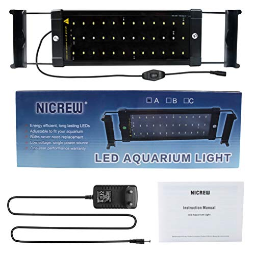 Nicrew Aquarium LED Beleuchtung, LED Aquarien-Aufsetzleuchte Passend für Aquarien 28 bis 50 cm, 6W - 9