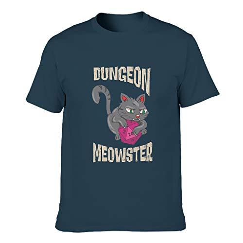 XJJ88 Dungeon Meowster - Camiseta de algodón para hombre, color negro