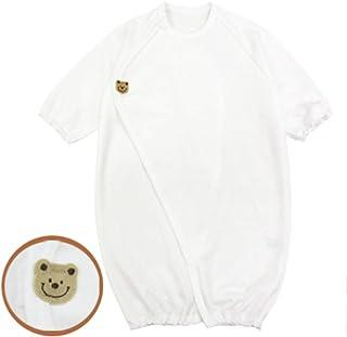 ◇日本製◇ ワンタッチ 長袖 ツーウェイオール くまちゃん 新生児 サイズ 50-60cm 綿100% 白 退院 ドレス