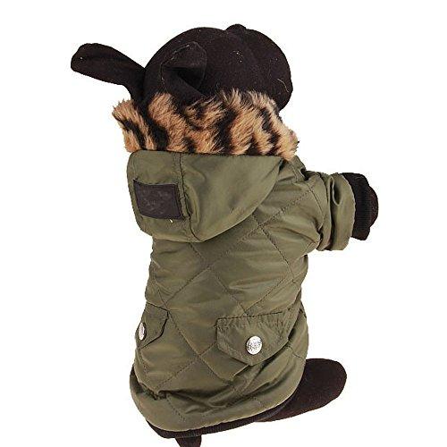 Yiwuhu Bequem Haustier Hundebekleidung Herbst Herbst Winter Jacke mit Hut für Welpen Doggy Cat Warm (Größe : XS)