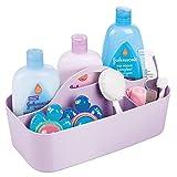 mDesign Cesta organizadora con 6 compartimentos para artículos de bebé – Cesta con asa de plástico grande – Práctica cesta multiusos para crema, termómetro, juguetes y comida de bebé – morado