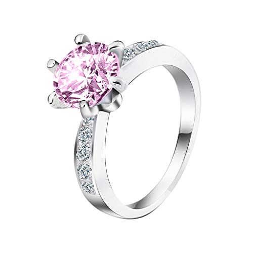 Allywit Engagement Ring Excellent Cut Cubic Zirconia CZ in White Gold Plated Sterling Silver for Women (8, Pink)