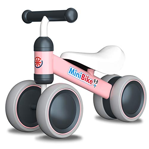 Baby Balance Bikes 10-24 Month Children Walker | Toys for 1 Year Old Boys Girls | No Pedal Infant 4 Wheels Toddler Bicycle | Best First Birthday New Year Holiday Pink