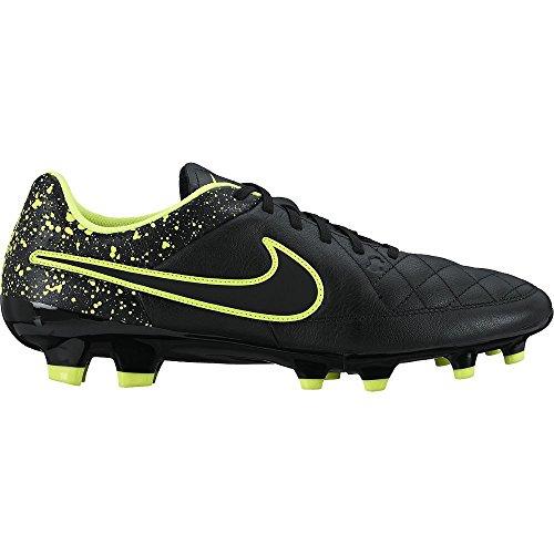 Nike Tiempo Genio Leather Firm Ground, Scarpe da Calcio Uomo, Black/Yellow, 42 EU