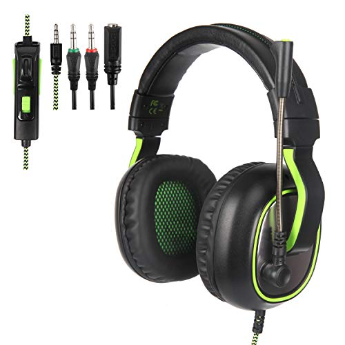 PS4 Gaming Headsets, G838 Gaming Headset for Xbox One Over Ear Headphones with Mic in-line Control Deep Bass for PS4 (Black Green) Headsets