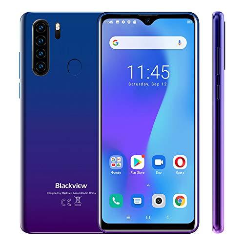 Blackview A80 Plus Handy ohne Vertrag Ggünstig, Android 10 Smartphone, 6,49 Zoll HD + Display, 4GB+64GB, 13MP+8MP Quad Kamera, 4680 mAh Akku, Dual SIM 4G, GPS, Blau