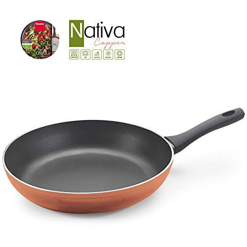 Metaltex NATIVA Copper-Sartén Aluminio Forjado, 30 cm, 2 Capas Antiadherente, Full Induction válido para Todo Tipo de cocinas, Acabado en Color Cobre