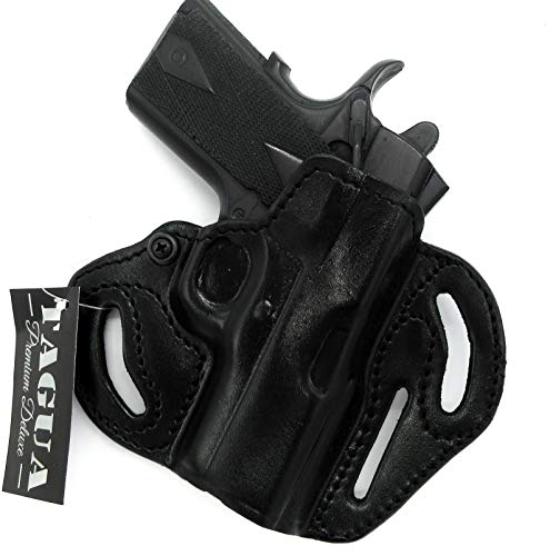 """HOLSTERMART USA TAGUA Premium Deluxe Right Hand Black Leather Open Top OWB Belt Holster for 3"""" 1911, Kimber Ultra Carry II, Ultra CDP II, Super Carry Ultra"""