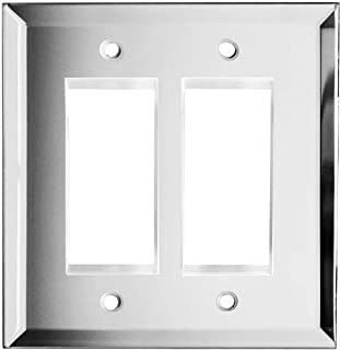 Glass Mirror 2-Gang Decorator/GFCI Rocker Wall Plate Cover