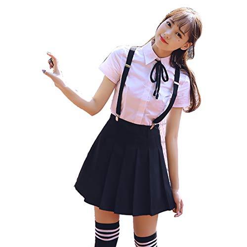 HugAzure Set di Uniforme Scolastica Giapponese 3 Pezzi,Costumi Cosplay Anime da Donna,Multicolore,Multi-size-02L