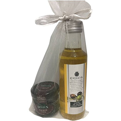 Regalo de botella de Aceite de La Chinata con tarrito de mermelada de cerezas artesana y sin gluten en bolsa de organza (Pack 24 ud)