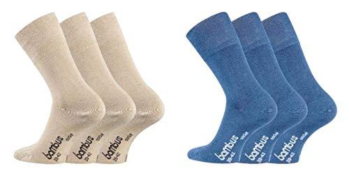 TippTexx24 Bambussocken, 6 Paar Socken, GERUCHS-KILLER, zusätzliche Garantie, Schadstofffrei nach Ökotex100 (Beige/Jeans, 39/42-6Paar)