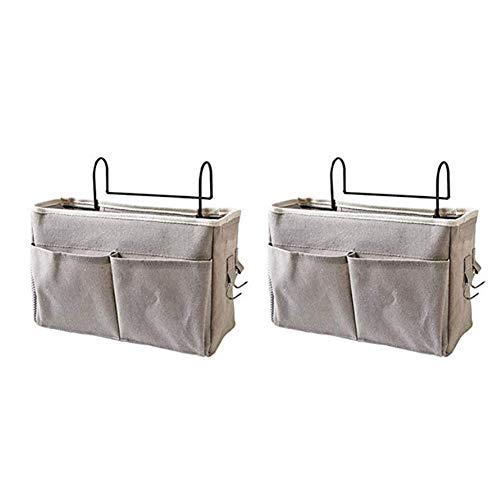 Frjjthchy 2 Pack Bedside Caddy Organizer Hanging Storage Bag for Dormitory Hospital (Grey)