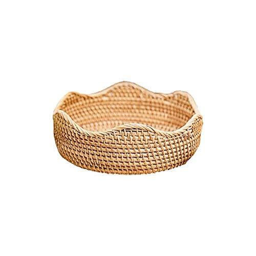 Phoetya Cuenco de mimbre para frutas tejido de almacenamiento, bandeja de mimbre para alimentos, cesta de pan, 3 tamaños (27 x 10 cm)