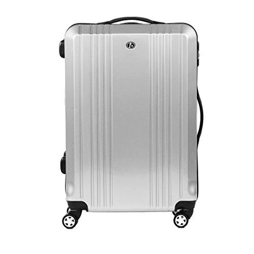 FERGÉ Trolley di dimensione media CANNES - Valigia rigida valigia da 24' con 4 ruote (360) argento