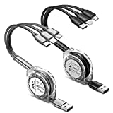 2 Pack/1m Multi Charger Cable,UZAHSK 3 in 1 Retractable USB