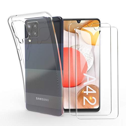 HTDELEC Funda + 2 Pack Vidrio Templado para Samsung Galaxy A42 5G,Transparente Slim Silicona Fundas Suave TPU Gel Carcasa Ultra-Delgado Protectora Case Cover para Samsung Galaxy A42 5G