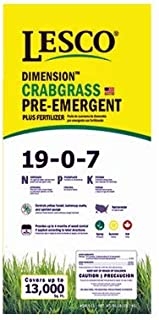 Lesco Professional, 50 LB, 13,000 SQFT Coverage, 19-0-7, Crabgrass Preventer Turf Fertilizer