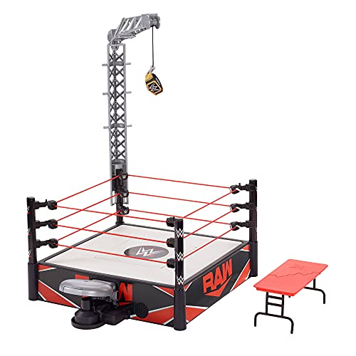 WWE Wrekkin Kickout Ring Playset 13-in (33.02-cm) x 20-in (50.8-cm) & 2 Modes: Randomized Ref & Springboard Launcher, Includes Crane, WWE Championship & Breakaway Table, Gift for Ages 6 Years Old & Up