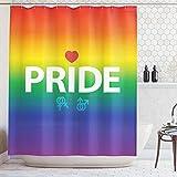 ABAKUHAUS Duschvorhang, LGBT Pride Beschriftung Regenbogen Farben Gay Pride Männliches Weibliches Geschlechts Druck, Blickdicht aus Stoff inkl. 12 Ringe für Das Badezimmer Waschbar, 175 X 200 cm
