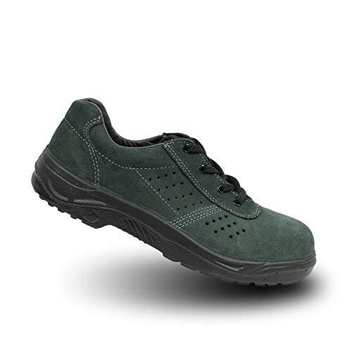 Ergos Caracas Zapatos de Seguridad S1P 3 Zapatos Verdes Plana Trabajan, Tamaño:43 EU