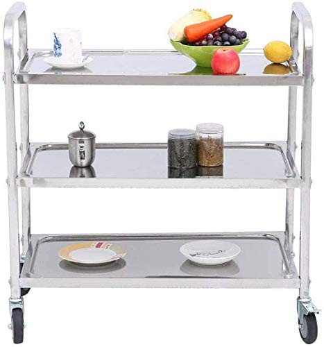MYOYAY Stainless Steel Utility Cart 3 Tier Kitchen Cart Serving Trolley with Locking Wheels for...