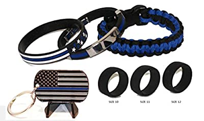 Thin Blue Line Tactical Paracord | NEW Wristband with Chrome Accents | (3) Sizes Tactical Active Wear Silicone Wedding Rings | Thin Blue Line American Flag Key Chain | Thin Blue Line | Police Gift