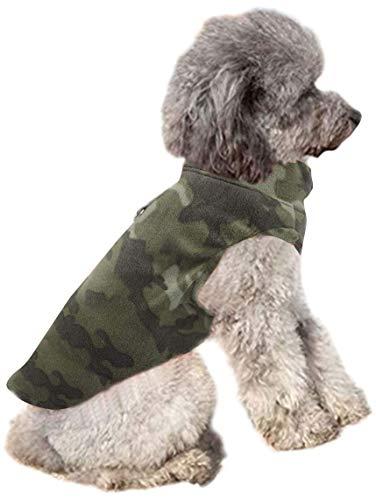 YAODHAOD Hundevlies Weste Premium Hundekleidung für kleine Hunde Junge oder Mädchen - Pullover Hundejacke mit Leinenring Mittelgroßer Hund Katze Hund Pullover Dackel Chihuahua French (L, Tarnung)