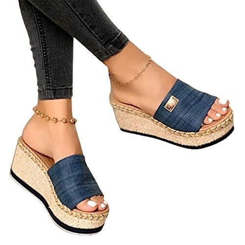 Damen Sandalen, Casual Damen Sommer Wedge Peep Toe High Heel Plattform Pantoletten Anti-Rutsch-Sandalen Blau 38