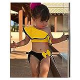 Rjjrr Sommer Baby Kinder Mädchen Zwei Stück Badeanzug Kind Badebekleidung Rüschen Bogen Wasser Sport Bikini Schulter Strand Baden (Color : Yellow, Size : 90)