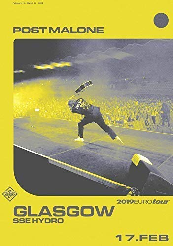 Desconocido Post Malone Beerbong & Bentleys 2019 World Tour Póster Foto Glasgow SSE Hydro 019 (A5-A4-A3) - A5