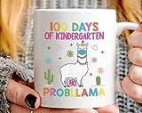 Taza de café de cuarentena divertida con texto en inglés '100 Days of Kindergarten No Probllama', regalo para estudiantes y profesores de preescolar o de jardín de infancia