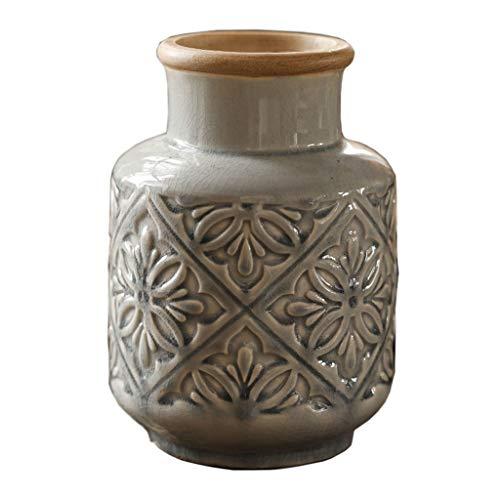 KGDC Floreros Jarrón Cerámica de cerámica en Relieve decoración Accesorios para el hogar Americano cerámica Floral Alto y bajo jarrón Floreros Decorativos (Size : Small)