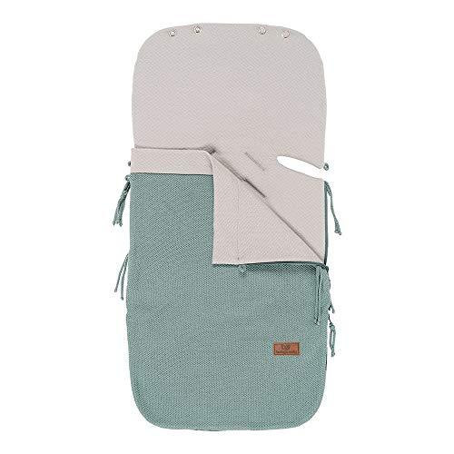 BO Baby's Only - 86x38 cm - 0+ Fußsach Sommer Autositz aus Baumwolle - für 5- und 3-Punkt-Gurten - Steingrün