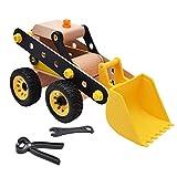 Toyvian Puzzle Excavadora 3D Coche Vehículo Jigsaw Juguete Madera DIY Excavadora Regalo de cumpleaños para niños Niños (Amarillo)