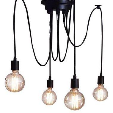 Pendente Thomas Edison para 4 Lampadas Preto