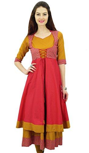 Phagun Doppio Strato Anarkali Vestito Indiano Kurti Dori Stile Giacca Designer - 42
