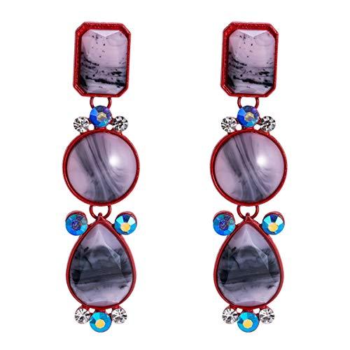 BBYT Aretes Pendientes exagerados de Europa y América Pendientes de Diamantes de múltiples Capas de Resina Joyería de Moda Simple con Pendientes de Estilo INS for Mujeres (Color : Fuchsia)