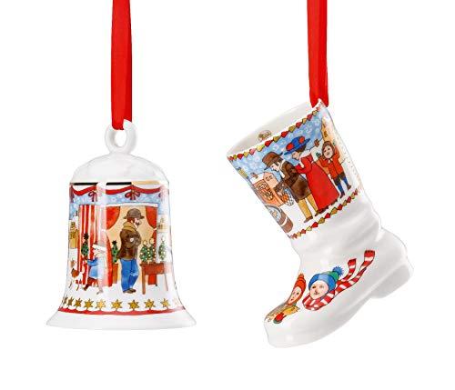 # Hutschenreuther 2019 Porzellan Glocke + Stiefel 2019 - Motiv Weihnachtsmarkt - in Originalverpackung (OVP)