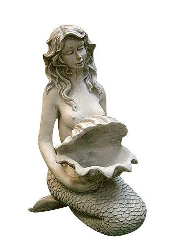 Wasserspeier Meerjungfrau, Skulptur aus Steinguss, Figur