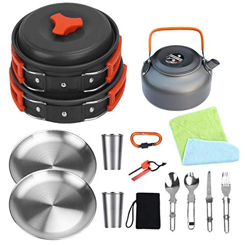 Bisgear Camping Cookware Kettle Pot Pan Mess Kit Stainless Steel Cup Plate Utensil Backpacking Gear Bug Out Bag Cooking Equipment Picnic Cookset Carabiner & Fire Starter for 2 Person