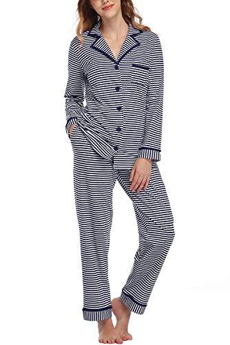 Evelife Pijama Mujer Invierno Algodón Conjunto de Pijama Mujer Ropa de Dormir de Raya Mangas Larga 2 Piezas