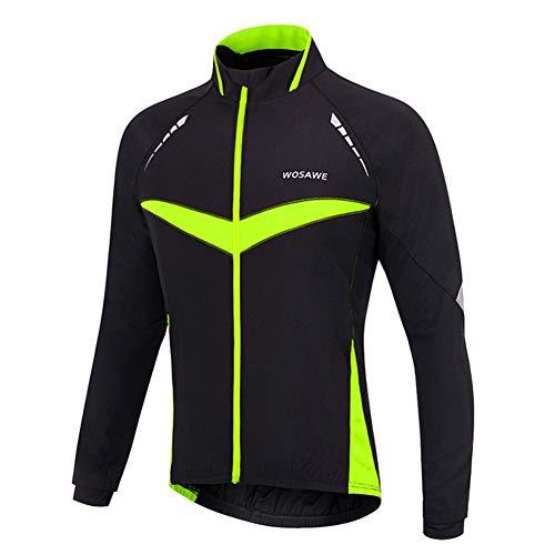 Men's Cycling Jacket Waterproof Cycling Jackets Thermal Fleece Jersey Long Sleeves and High Visibility Reflective Logo for MTB Bike Cycling,Green,XL