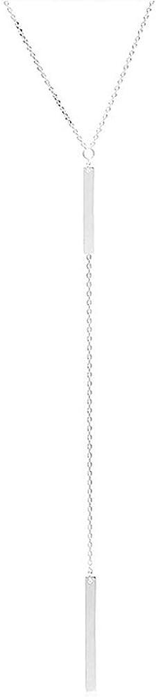 YOOE Simple Long Lariat Bar Y Necklace Dainty Minimalist Metal Strips Lasso Necklace.Multi Layer Tassel Pendant Necklace For Women Girls