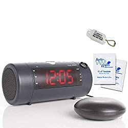 Sonic Alert Sonic Blast Super Loud Alarm Clock w/Bluetooth Speaker & Sonic Bomb Super Shaker - Alarm Clock for Heavy Sleepers & Deaf | Includes 20 Audiowipes and Liberty Hearing Aid Keychain (Black)