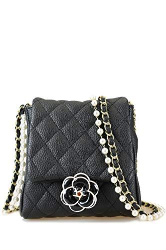 collezione alessandro Abendtasche Paris schwarz-weiß mit Perlenkette 16cm x 15cm x 5cm