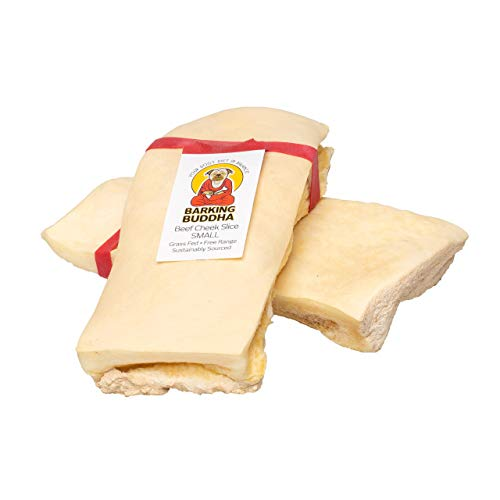 Barking Buddha Beef Cheek Slices - Extra Thick - All Natural - No Additives Gluten Free - Premium Dog Chews   Small 5' - 6'   25 Pack