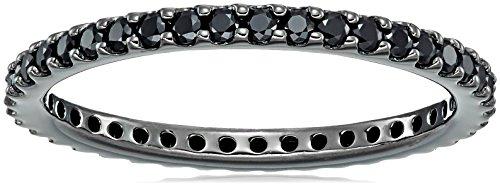 Black-Rhodium-Plated Sterling Silver Swarovski Zirconia Black-Rhodium Round Cut All-Around Band Ring, Size 8