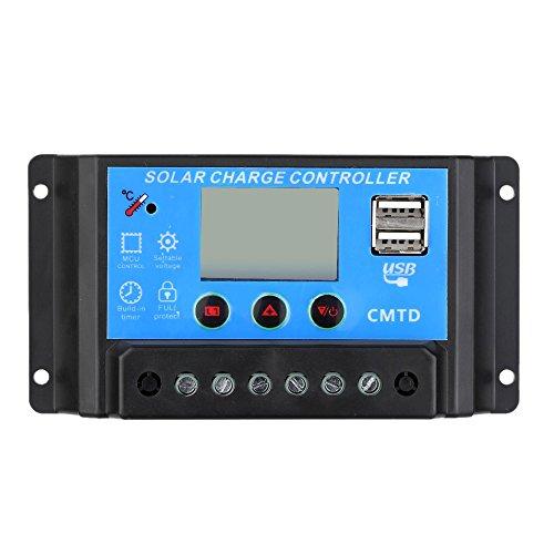 VIASOLAR Regulador Solar de 20A 12V/24V con Display y 2 USB